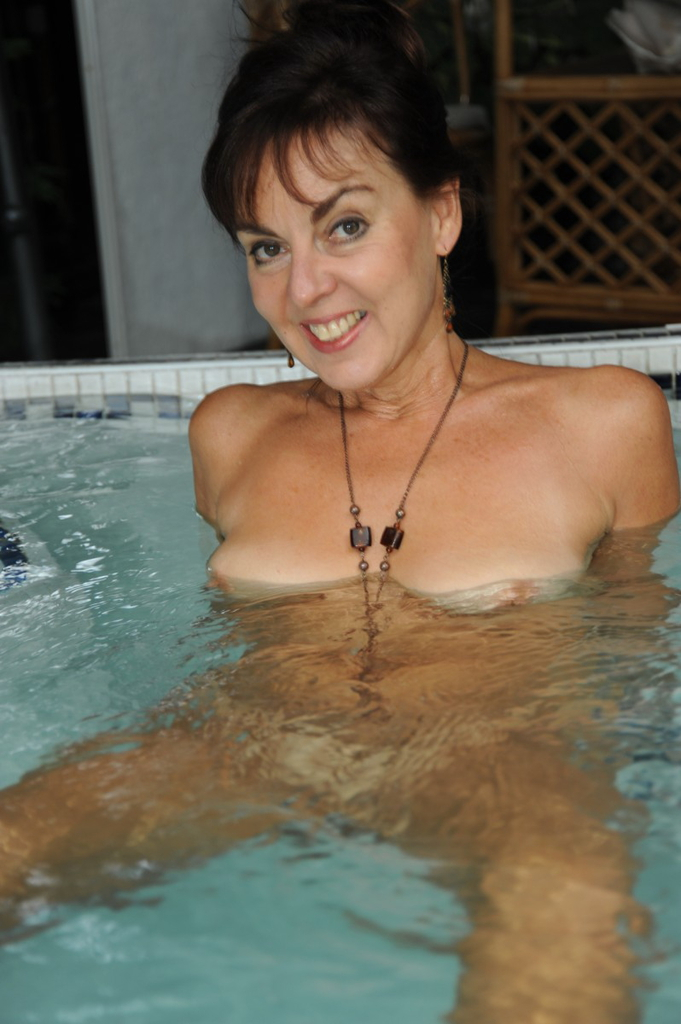 English mature bathes her giant tits amp hairy pussy - 1 5